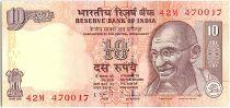 Inde 10 Rupees,  Mahatma Gandhi - Animals - 2011 - P.95 Lettre S