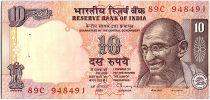 Inde 10 Rupees, Mahatma Gandhi - Animaux - 1996 - P.89 a