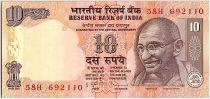 Inde 10 Rupees, Mahatma Gandhi - Animaux - 2010 - P.95 Lettre A