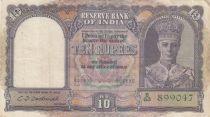 Inde 10 Rupees George VI - Bateau - 1943 Série B63 - TTB - P.24
