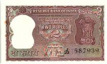 Inde 2 Rupees, Colonne aux Lions - Tigre - 1967-70  - P.51 b