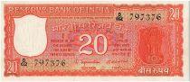 Inde 20 Rupees, Colonne aux Lions - Parlement - 1970 - P.61 A