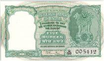 Inde 5 Rupees, Colonne aux Lions - Antilopes - 19(49-57)  - P.34 Rare