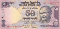 Inde 50 Rupees ND1997 - Gandhi - Série C - Numéro 555555
