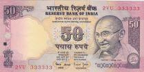 Inde 50 Rupees ND1997 - Gandhi - Série E - Numéro 333333