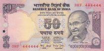 Inde 50 Rupees ND1997 - Gandhi - Série E - Numéro 444444