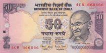 Inde 50 Rupees ND1997 - Gandhi - Série E - Numéro 666666