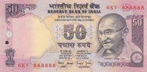 Inde 50 Rupees ND1997 - Gandhi - Série E - Numéro 888888