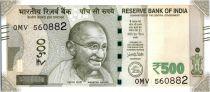 Inde 500 Rupees, Mahatma Gandhi - 2016 Lettre L