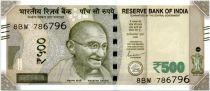 Inde 500 Rupees, Mahatma Gandhi - Red Fort 2019 Série 8BW