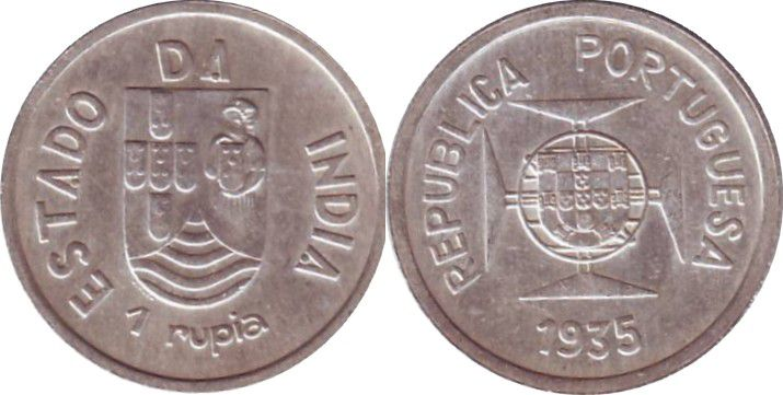 Inde Portugaise 1 Rupia Armoiries