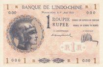 Indes Françaises 1 Roupie Femme casquée - 1923 - Spécimen O.00