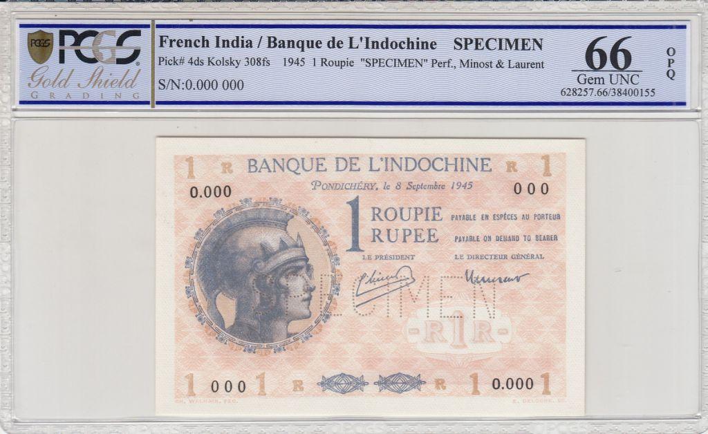 Indes Françaises 1 Roupie Femme casquée - 1945 - Spécimen O.000 - PCGS 66 OPQ