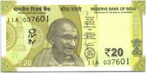 India 20 Rupees, Mahatma Gandhi - 2019 - UNC