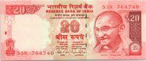 India 20 Rupees, Mahatma Gandhi - Beach - 2015