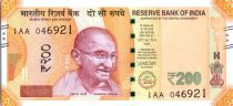 India 200 Rupees, Mahatma Gandhi - Sanchi Stupa 2017 Serial 1AA