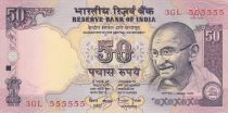 India 50 Rupees ND1997 - Gandhi - Serial C - Number 555555