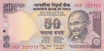 India 50 Rupees ND1997 - Gandhi - Serial E- Number 777777