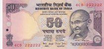 Indien 50 Rupees ND1997 - Gandhi - Serial E - Number 222222