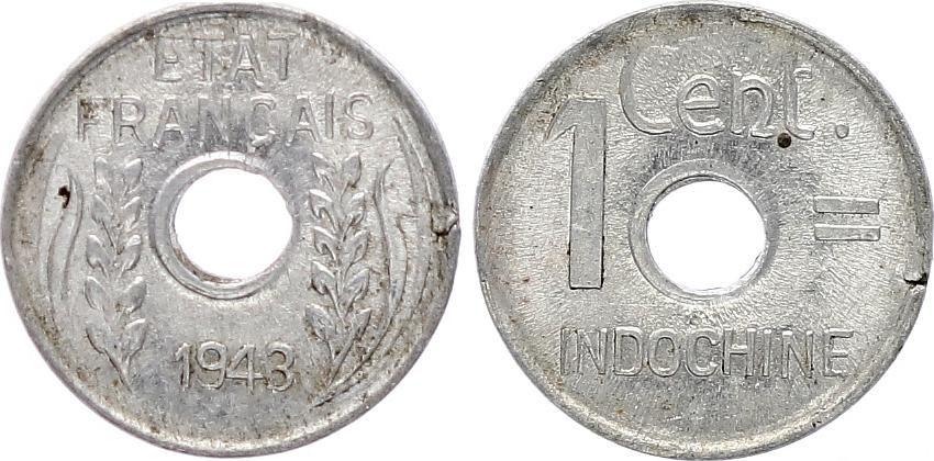 Indo-Chine Fr. 1 Centime - Etat Francais - 1943 - TTB
