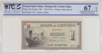 Indo-Chine Fr. 1 Piastre - 1945 Lettre B - PCGS 67OPQ