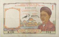 Indo-Chine Fr. 1 Piastre Femme - ND (1953) - Série K.436 - TB