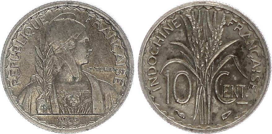 Indo-Chine Fr. 10 Centimes - Marianne Turin - 1939 - TTB