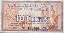 Indo-Chine Fr. 10 Cents ND (1939) - Marché avec éléphants - TTB