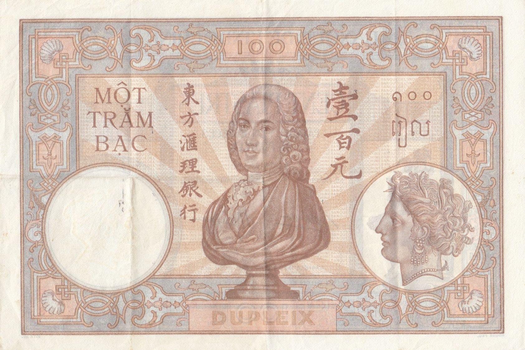 Indo-Chine Fr. 100 Piastres  Dupleix - 1936-1939 SérieJ.201 - TTB + - P.51