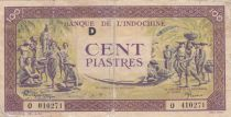 Indo-Chine Fr. 100 Piastres Marché - 1944 - Lettre D - O 410271