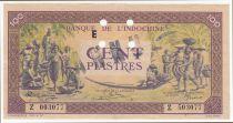 Indo-Chine Fr. 100 Piastres Marché - 1945 - Lettre E - Z 503077 - Annulé - SUP+