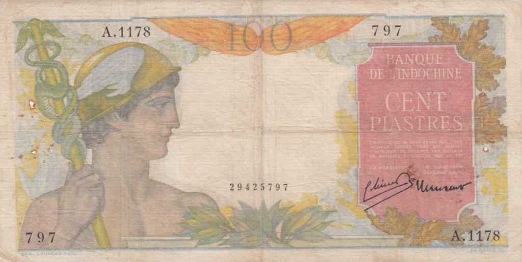 Indo-Chine Fr. 100 Piastres Mercure ND 1947 - Série A.1178