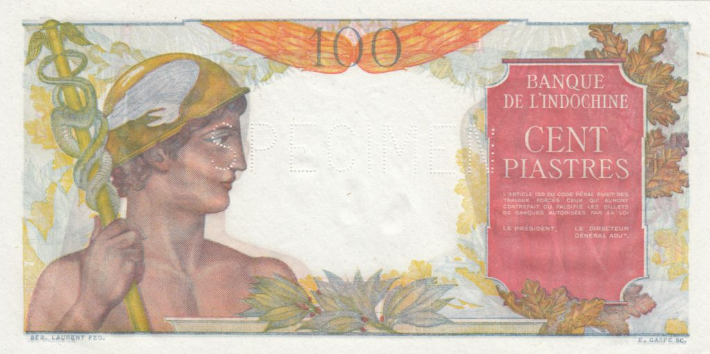 Indo-Chine Fr. 100 Piastres Mercure ND 1947 , Spécimen - sans sign.