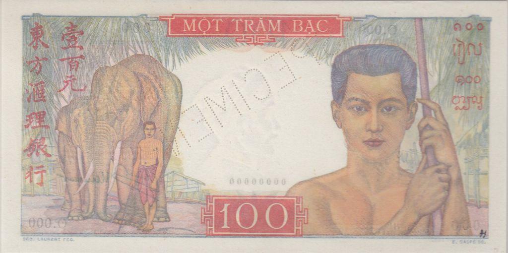 Indo-Chine Fr. 100 Piastres ND1947 Mercure, Spécimen - PCGS AU 58