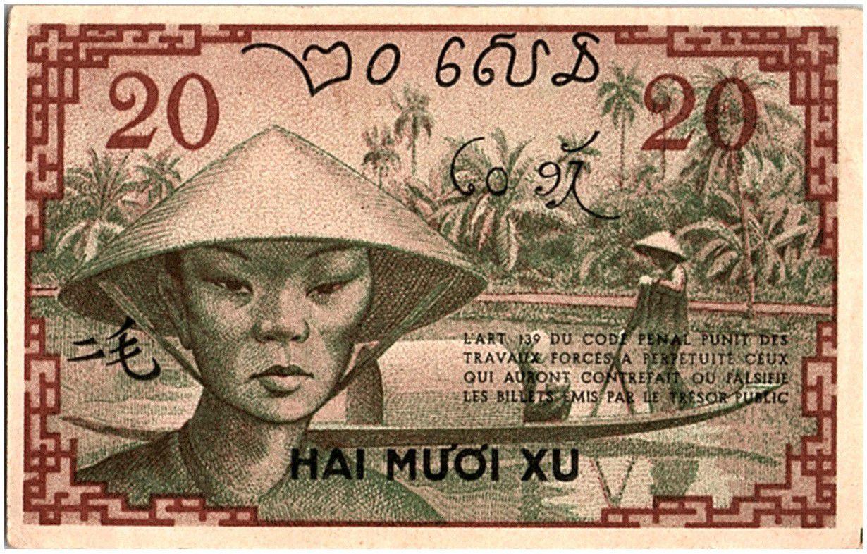 Indo-Chine Fr. 20 Cents, Vert et Brun - Paysans - P.86 c