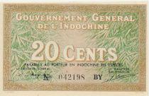 Indo-Chine Fr. 20 Cents ND (1939) - Femme au chapeau conique - TTB+