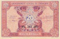 Indo-Chine Fr. 20 Cents ND (1942) - Série RL 247.362 - TTB