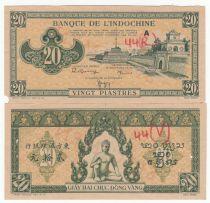 Indo-Chine Fr. 20 Piastres - 1944 - Lettre A -  Paire d\'Epreuve - Spécimen