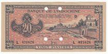 Indo-Chine Fr. 20 Piastres - 1945 - Lettre D - L 031626 - Annulé - SUP+
