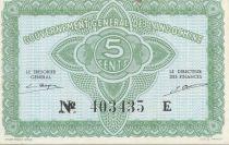 Indo-Chine Fr. 5 Cents ND (1942) - Série 403435 E - P.NEUF