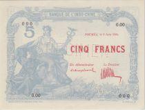 Indo-Chine Fr. 5 Francs femme au sceptre 02-06-1924- PCGS MS 64