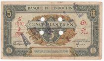 Indo-Chine Fr. 5 Piastres - 1945 - Lettre F - O 087297 - Annulé - TTB