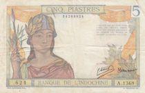 Indo-Chine Fr. 5 Piastres Femme casquée - ND (1946) - Série A.1369