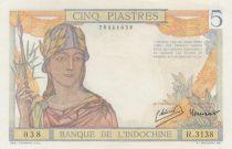 Indo-Chine Fr. 5 Piastres Femme casquée - ND (1946) - Série R.3138