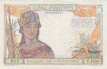 Indo-Chine Fr. 5 Piastres Femme casquée - ND (1946) - Série T.4346