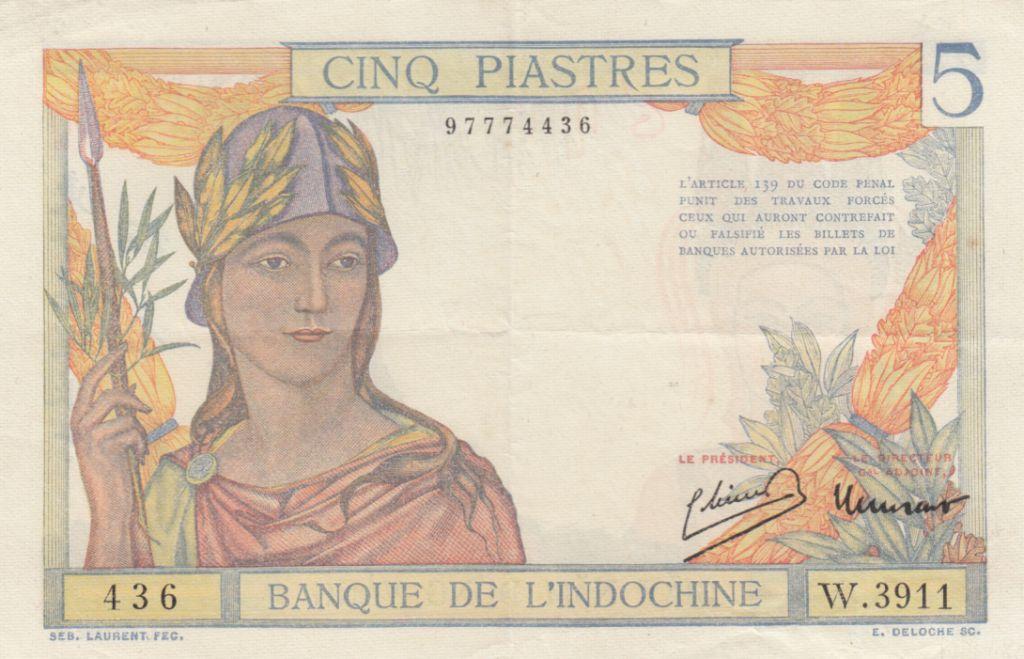 Indo-Chine Fr. 5 Piastres Femme casquée - ND (1946) - Série W.3911