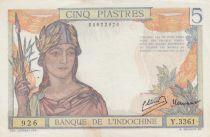 Indo-Chine Fr. 5 Piastres Femme casquée - ND (1946) - Série Y.3361