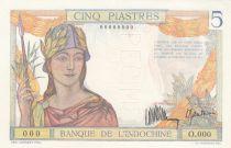 Indo-Chine Fr. 5 Piastres Femme Casquée - Spécimen 1936 - Série O.000