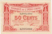 Indo-Chine Fr. 50 Cents - 1919 - Impression Banque Chaix - Spécimen - p.Neuf
