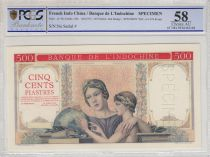 Indo-Chine Fr. 500 Piastres ND1951 à plats rouges, épreuve sans numéros Spécimen - PCGS AU 58